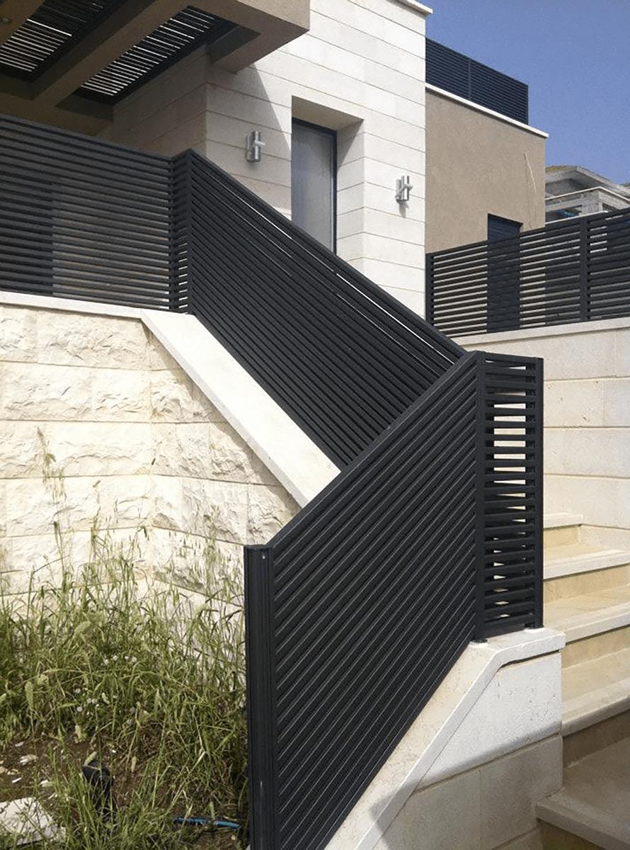Black aluminum stair railing