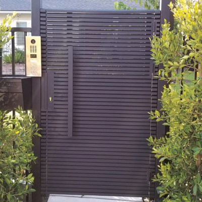 Black Hi-Tech Aluminum entry gate with keypad