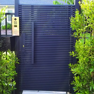 Black Hi-Tech Aluminum entry gate with keypad