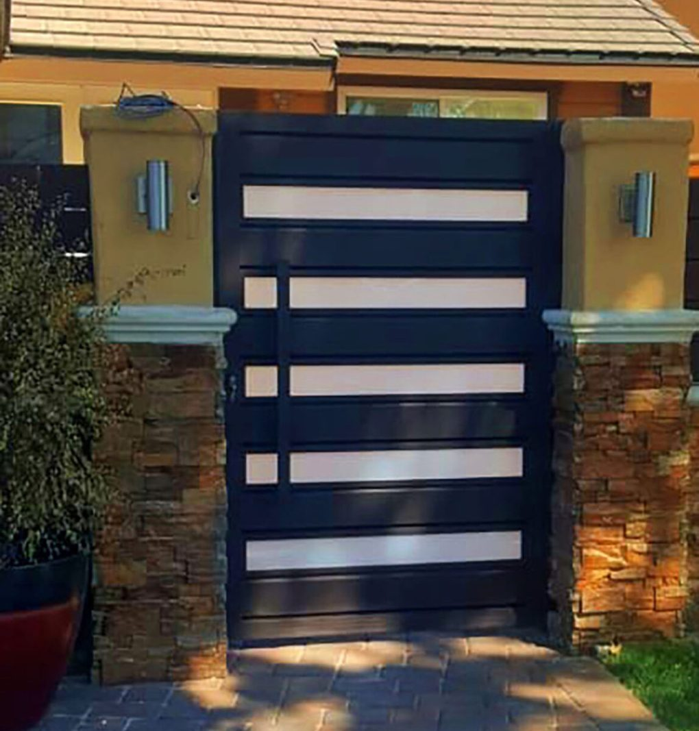 Black aluminum and glass entry gate
