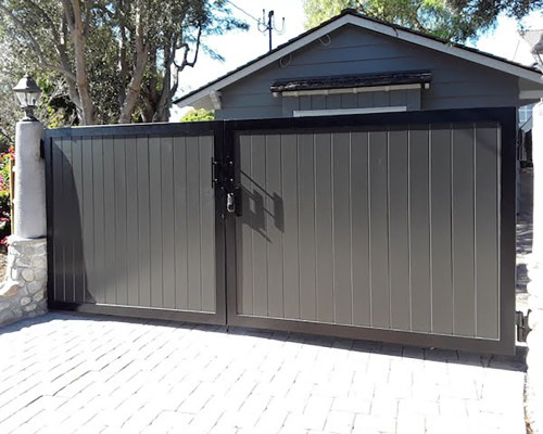Dark wood driveway gate