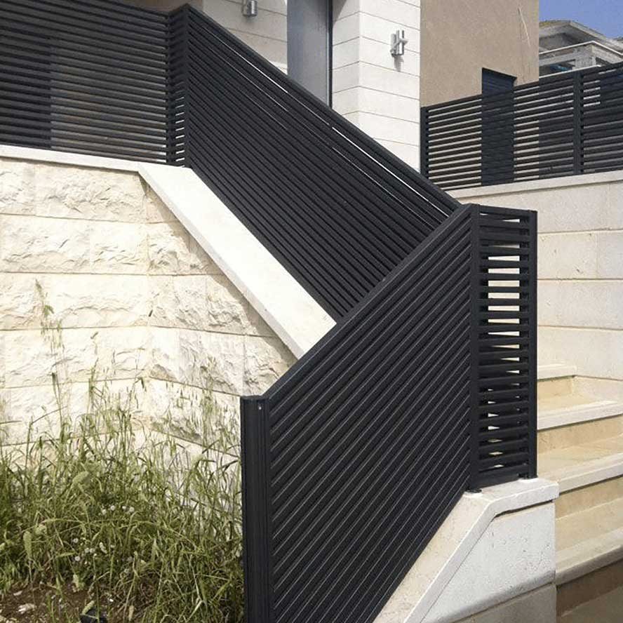 black hi tech aluminum outdoor stairway railing