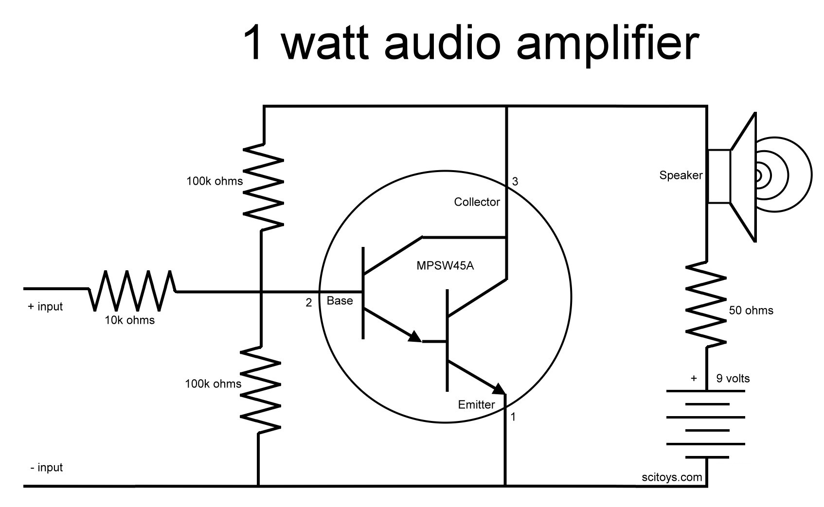 Audio Amplifier With Mpsw45a Transistor Mullaidiyprojects