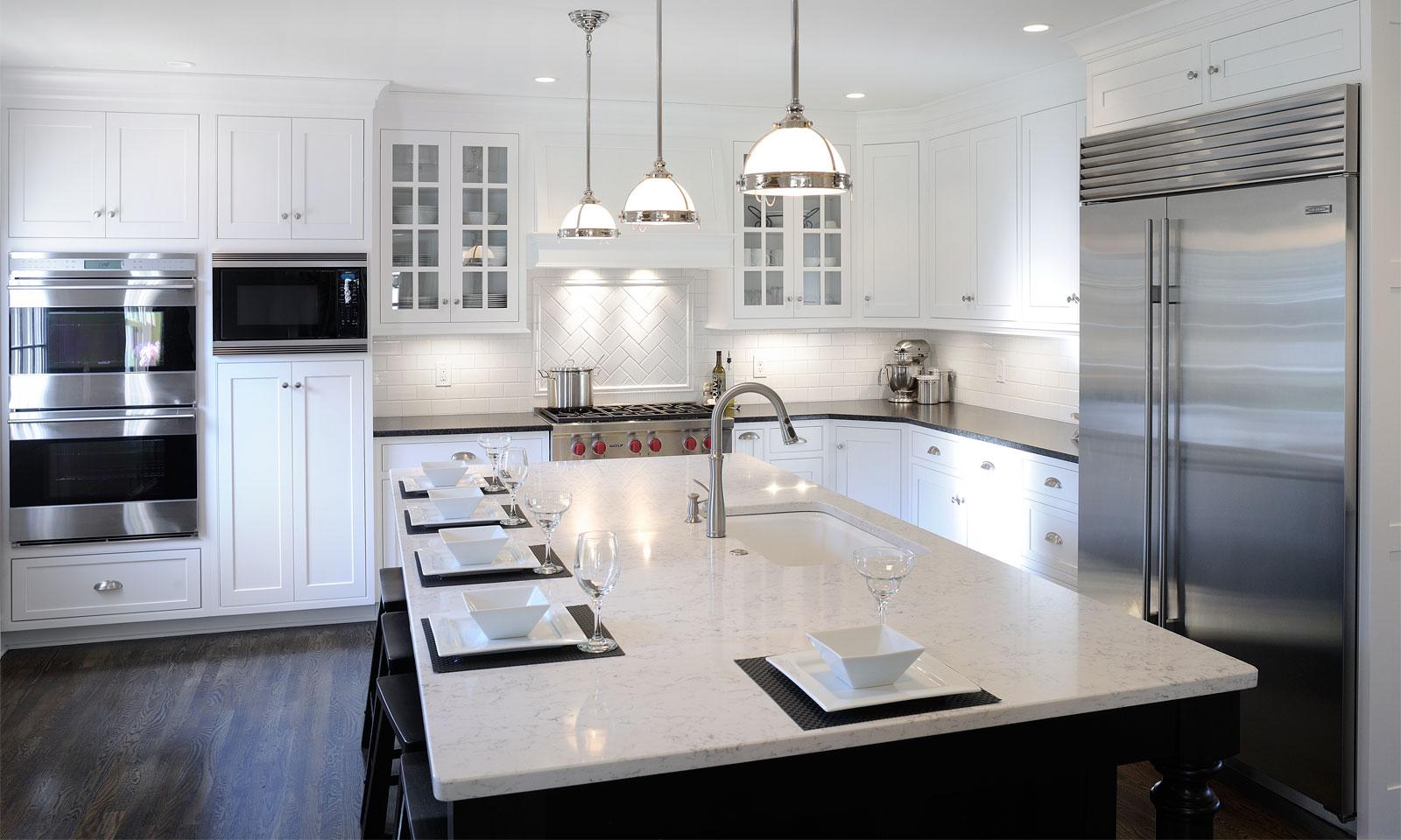 Best Kitchen Gallery: Mullet Cabi White Transitional Kitchen of White Transitional Kitchen Design on rachelxblog.com