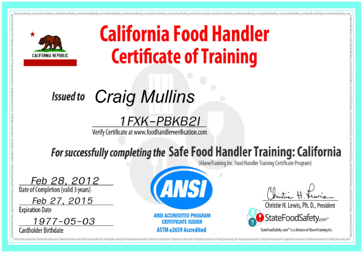 san bernardino food handlers card practice test | food