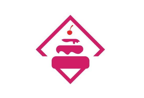 Ilustração do logotipo do bolo modelo vetorial do alimento