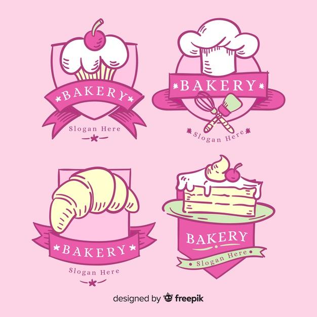 Modelo de logotipo de padaria desenhada de mão Vetor grátis