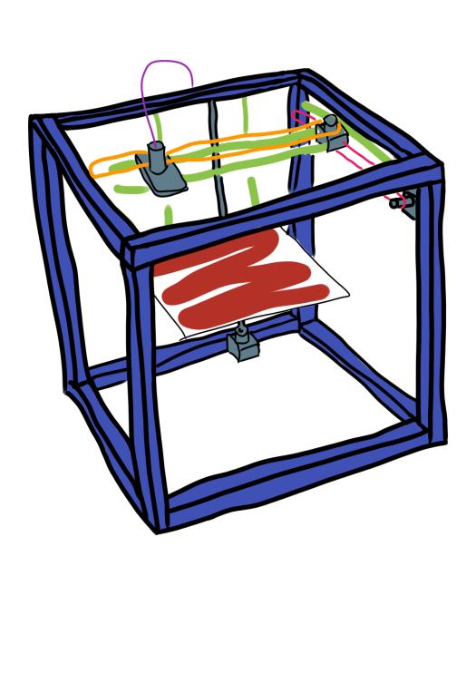 karikatur eines 3D Druckers in kartesischer Bauweise