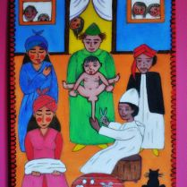 "Moroccan hand-painted picture on wood ""Circumcision"""