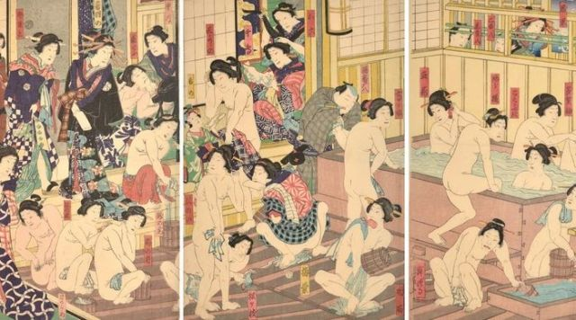 Kunichika, Kabuki Actors at the Yoshiwara Bath