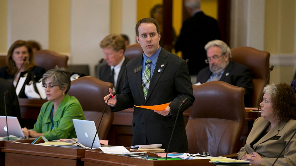 State Sen. Eric Brakey discusses legislation at the State House in 2015. Following an unsuccessful challenge to Sen. Angus King in 2018, the Auburn Republican said Tuesday that he may run for the 2nd District seat in 2020.