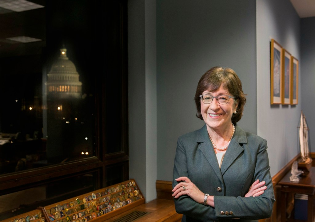 Sen. Susan Collins, shown in her Washington office in 2017, collected more than $1.5 million in campaign donations in the first quarter of 2019, following her fourth-quarter total in 2018 of $1.9 million.