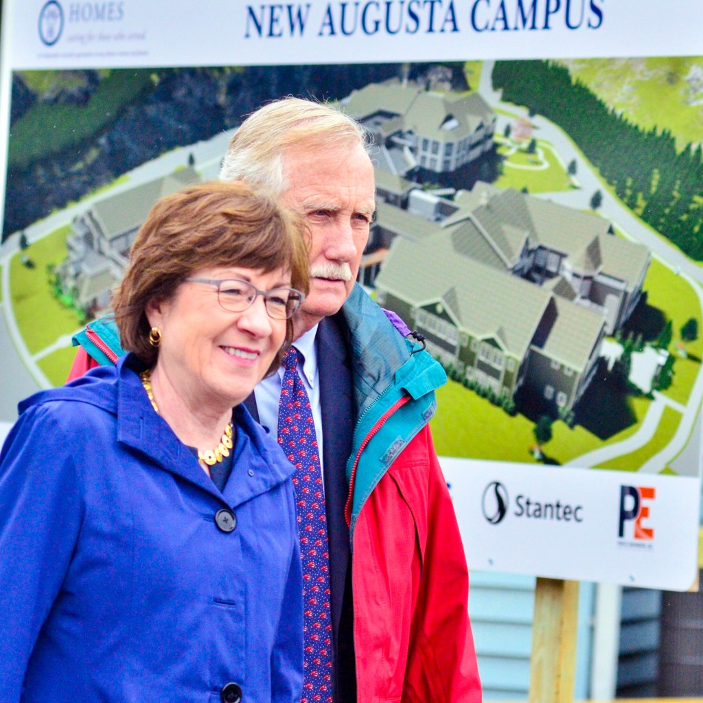 U.S. Sens. Susan Collins and Angus King at a groundbreaking ceremony this year.