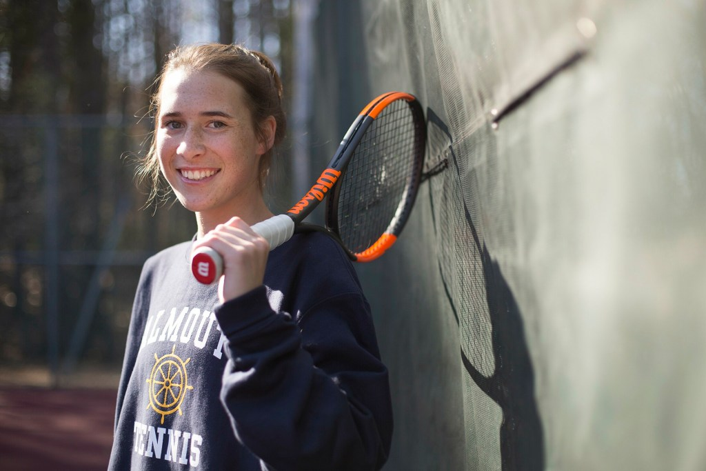 FALMOUTH, ME - APRIL 25: Falmouth senior Maddy Joyce has shifted to singles after three years playing doubles for Falmouth's 11-time defending state champion tennis team. (Staff photo by Derek Davis/Staff Photographer)