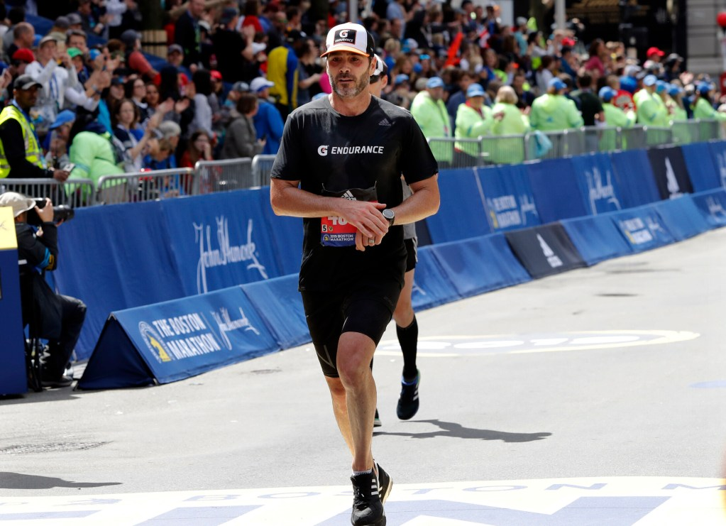 Seven-time NASCAR driver Jimmie Johnson ran his first Boston Marathon on Monday, finishing in 3 hours, 9 minutes, 7 seconds.