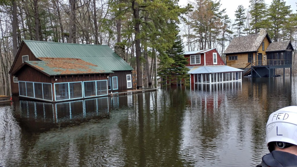 These are among the 25 or so mostly seasonal homes that were damaged in Fryeburg when the Saco River flooded near Lovewell Pond overnight Monday.