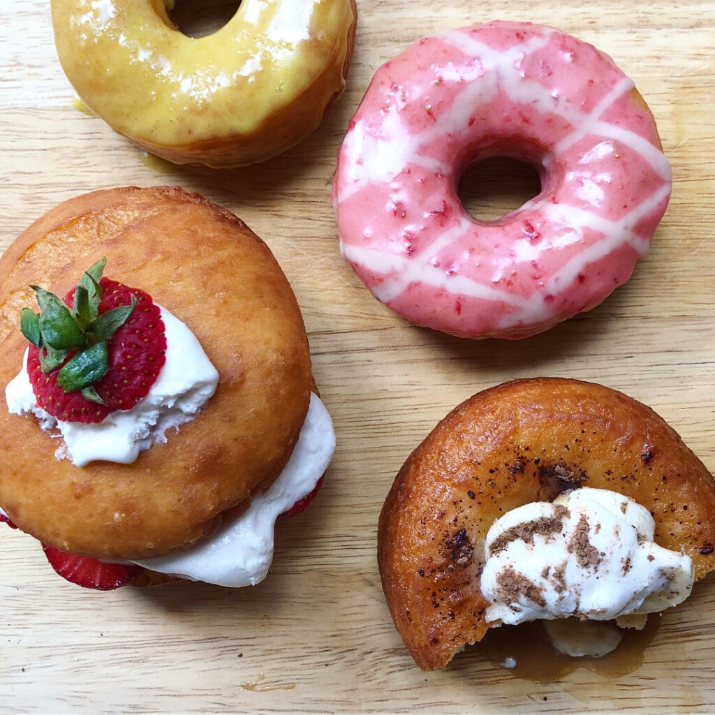 A selection of vegan donuts from Lovebirds, a new donut shop that will open in Kittery in April. Photo courtesy of Lovebirds