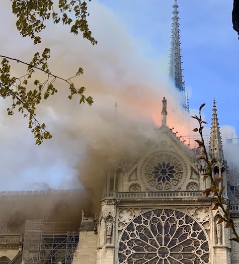 Amy and Andrew Page of North Yarmouth had this view of Monday's fire at Notre Dame Cathedral before the spire became engulfed in flames and ultimately fell.