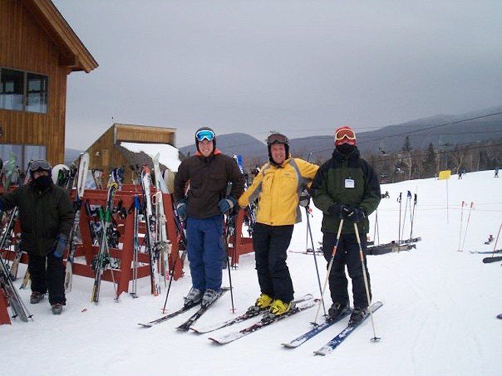 Josh Christie, from left, John Christie and Jake Christie at Saddleback Mountain.