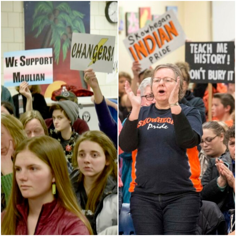 "At left, people against the use of the ""Indians"" nickname in School Administrative District 54 schools hold signs March 7 urging school board members to vote to stop the practice during a meeting in Skowhegan. At right, supporters of keeping the nickname rally March 22 at a school board meeting at Skowhegan Area Middle School."