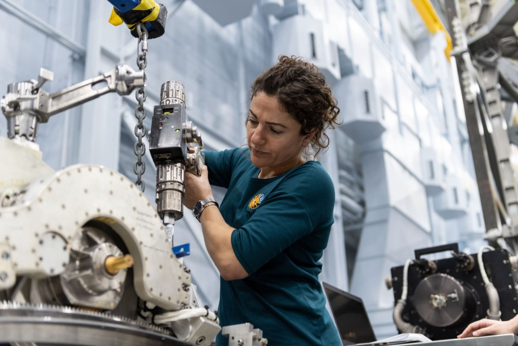 NASA astronaut Jessica Meir trains inside the Space Vehicle Mockup Facility at NASA's Johnson Space Center. She has been assigned to her first spaceflight, and will launch to the International Space Station in September 2019.
