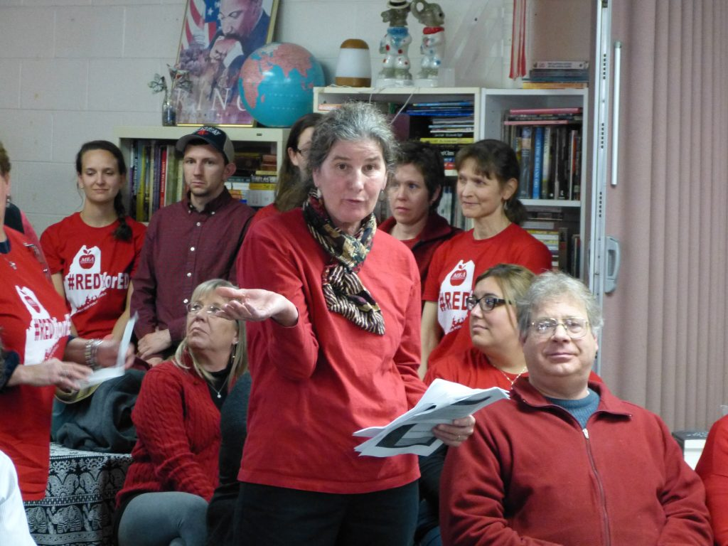 Mary Hobson of Topsham, a resource teacher at Mt. Ararat Middle School, was one of many teachers who urged the SAD 75 school board Thursday to give teachers a raise. (Darcie Moor/The Times Record)