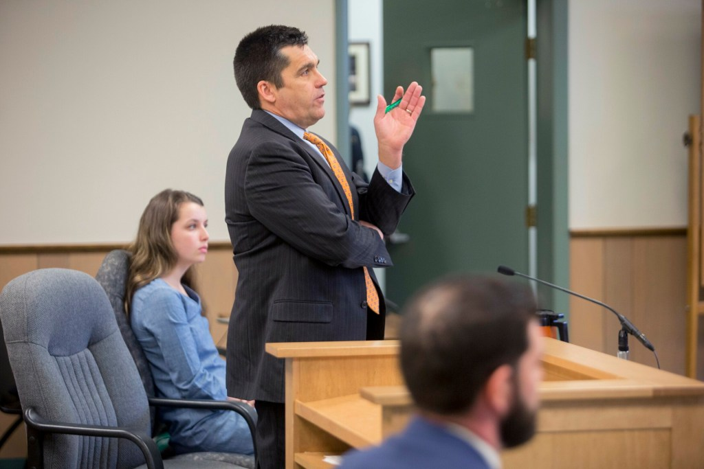 Brian Landis' defense attorney Ted Dilworth speaks to Judge Charles Dow during Wednesday's hearing in South Paris in the criminal case against the former Oxford County sheriff's lieutenant. The judge dismissed the case because of the prosecution's failure to comply with his request for evidence.