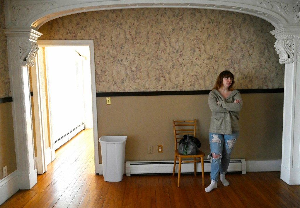 Janie Johnson, 19, moved into an apartment in Biddeford last month after being homeless off and on for the past five years. She shares the apartment with her boyfriend. (Staff photo by Shawn Patrick Ouellette/Staff Photographer)