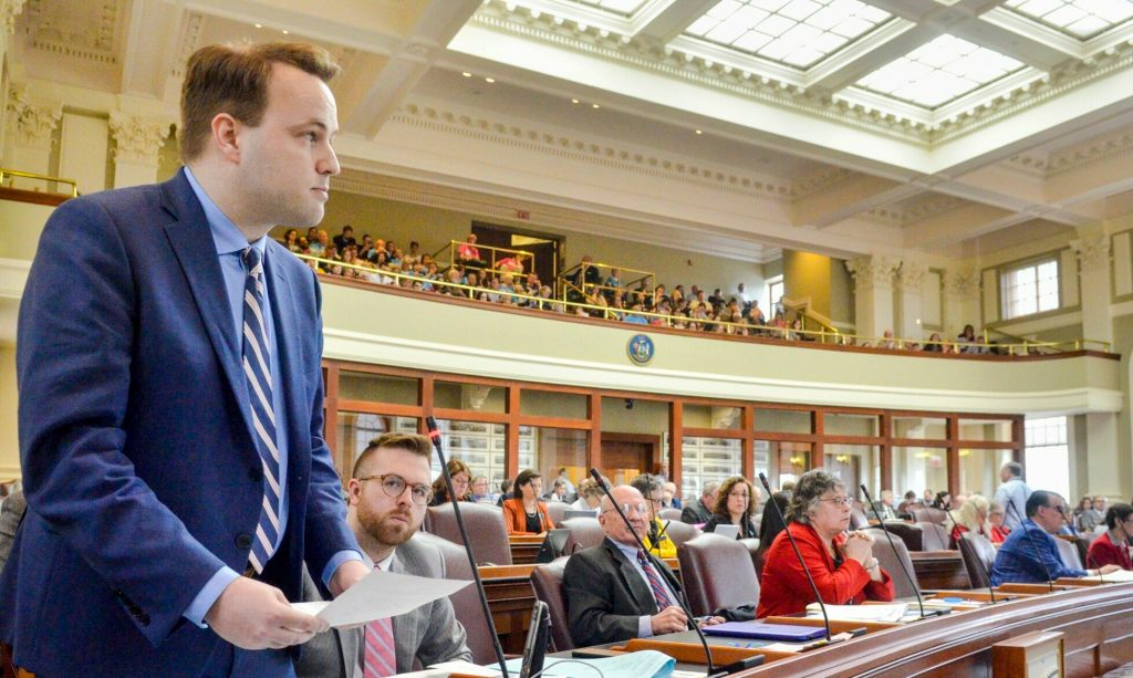 Democratic floor leader Matt Moonen, D - Portland, speaks Tuesday in favor of a bill that calls for MaineCare coverage for abortion services. The House gave preliminary approval to the bill.