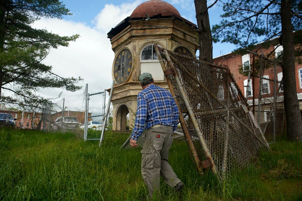Dan LeBlond, a Biddeford resident and local historian, approaches the the clock tower Friday.