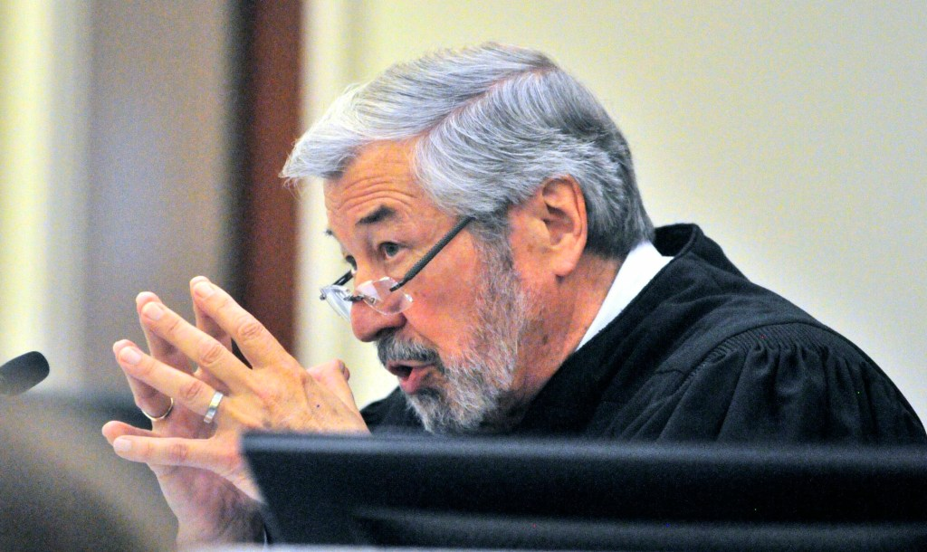 Superior Court Justice Donald Marden speaks during Eric Bard's sentencing on July 24, 2015, in the Capital Judicial Center in Augusta.