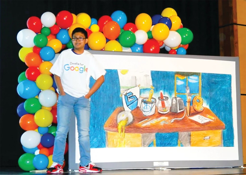 John Gatchalian. a seventh-grader at Biddeford Middle School, was honored Thursday as the 2019 Maine winner of the 'Doodle 4 Google' contest.
