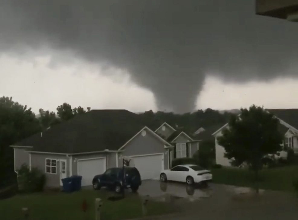 An image taken from video shows a tornado in Carl Junction, Mo. on Wednesday.