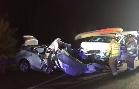 A car driven by a Saco woman is seen after colliding head-on Saturday night with two other vehicles on Interstate 95 in Augusta.