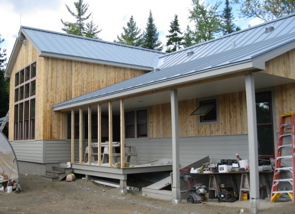 Maine Huts and Trails' Grand Falls Hut, shown while under construction in 2010, is one of two remote huts that Maine Trails and Huts will close from mid-June to late October because of a lack of staffing.