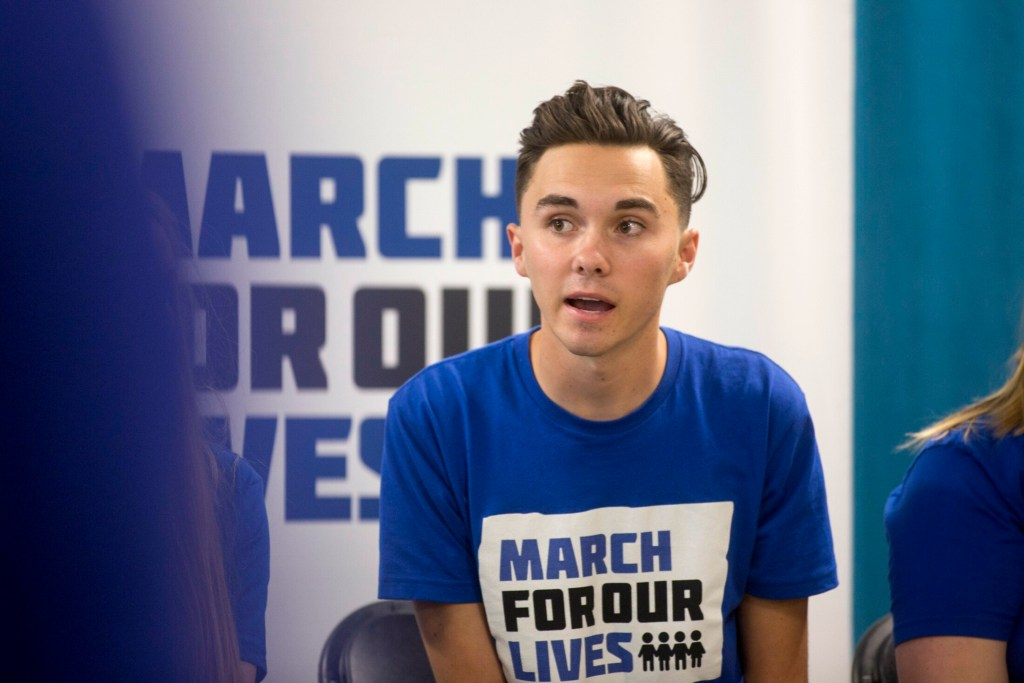 Activist and Parkland high school shooting survivor David Hogg speaks to students and community members at Casco Bay High in June.