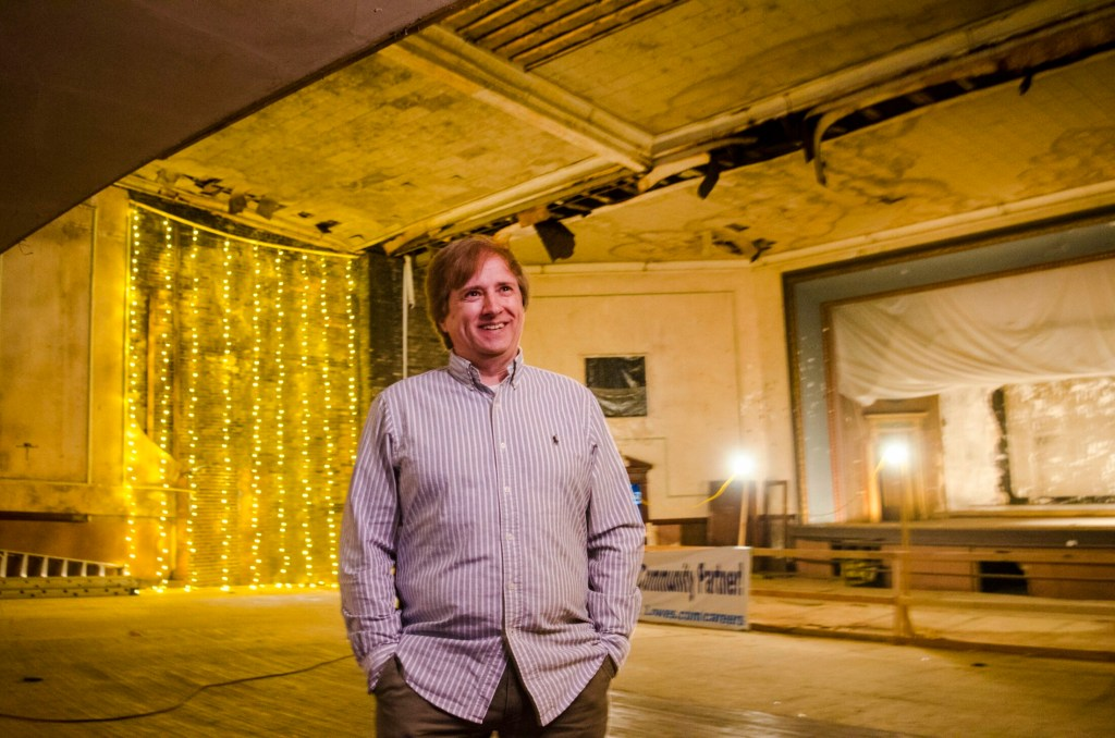 Peter Bezemes, the new executive director of the Colonial Theater in Augusta, stands in the theater Wednesday.