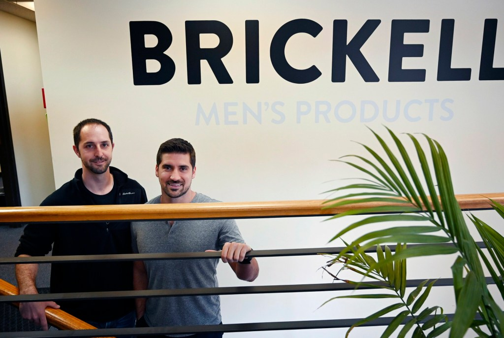 Matt Bolduc. left, and Josh Meyer founded  Brickell Men's Products five years ago. The skincare  company, based in Portland, is poised to double sales to $20 million this year. It tops the Maine companies ranked by Inc. 5000's list of fastest-growing companies.