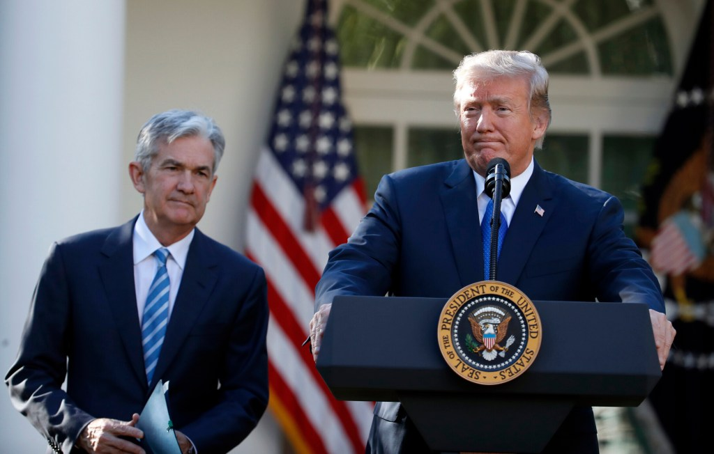 President Trump announces Federal Reserve board member Jerome Powell as his nominee for chair of the Federal Reserve in 2017. (Associated Press/Alex Brandon)