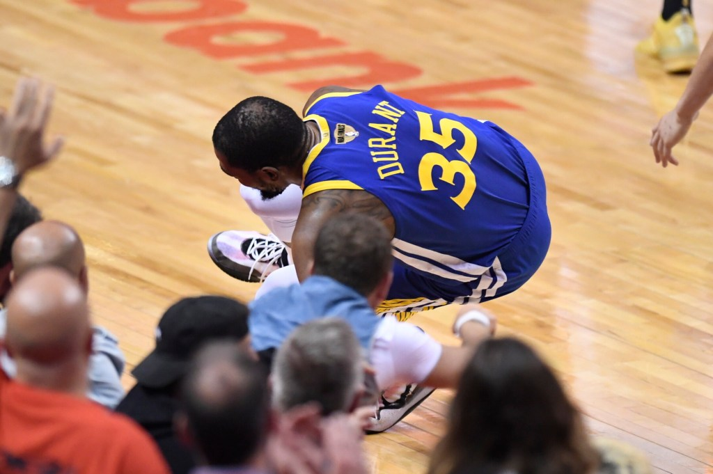Kevin Durant went down with an injury in Game 5 against the Toronto and is out for the rest of the series.