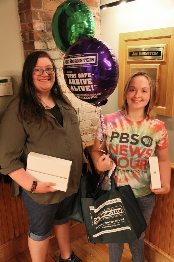 Jasmine Lambert, left, and Roslin Desiderio, winners of the 15th annual Arrive Alive Creative Contest sponsored by the Law Offices of Joe Bornstein.