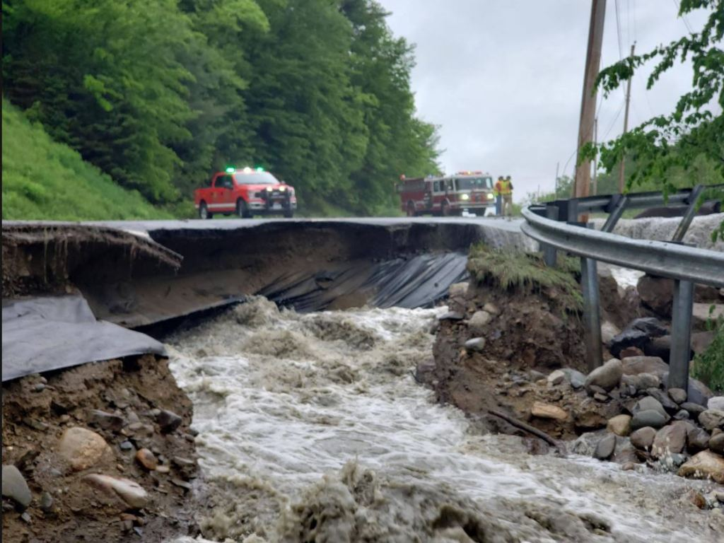 A washout on Tuesday afternoon of a section of Route 4 in Phillips during a torrential downpour was caused by a beaver dam breaking and a large charge of water from Adley Pond, according to the Maine Department of Transportation.