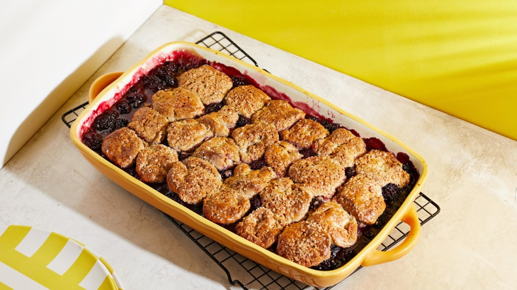 One-bowl Blackberry Cobbler with Easy Cinnamon-Sugar Buttermilk Biscuits.