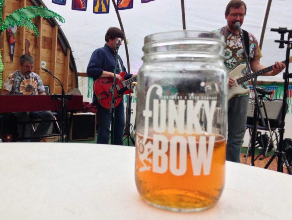 Funky Bow's Lyman brewery hosts bands and serves wood-fired pizza.