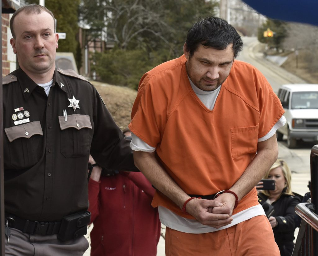 Julio Carrillo of Stockton Springs is led into Waldo County Superior Court in Belfast on Feb. 28, 2018, charged in the killing of his stepdaughter Marissa Kennedy.