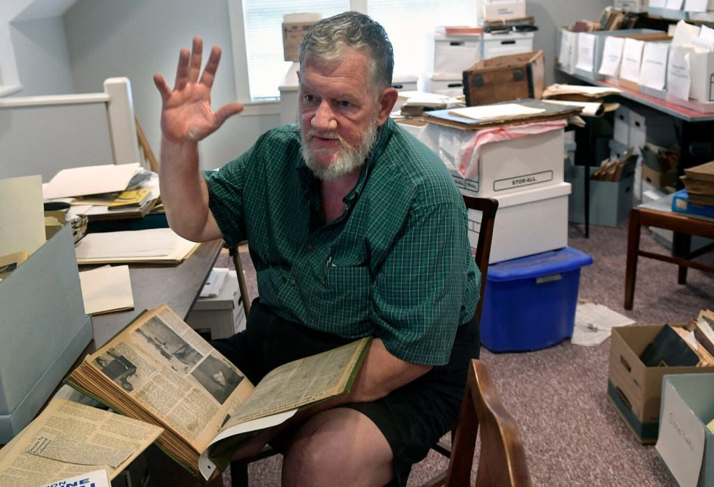 Jay Robbins describes the origin of Richmond Days on Tuesday at the community's historical society.
