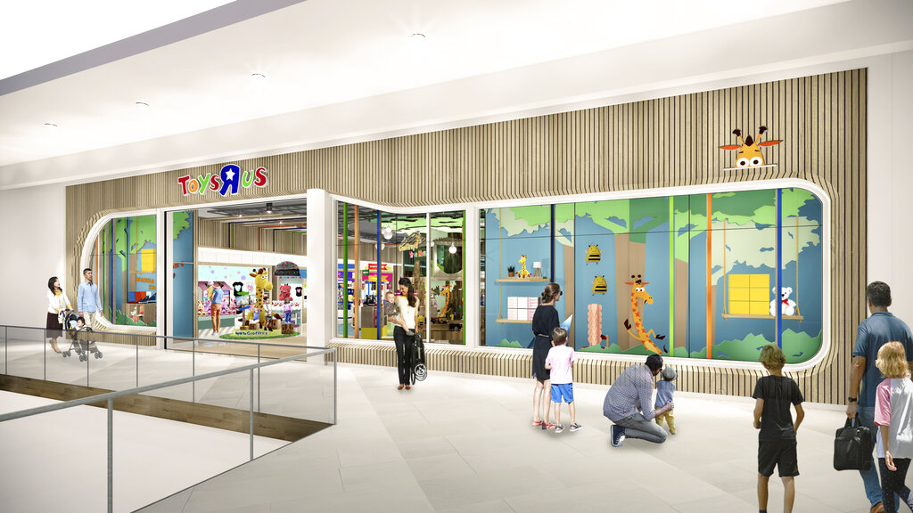 "This undated artist rendering provided by Toys""R""Us shows an artist rendering of a new store, which will be about 6,500 square feet — a fraction of the brand's former big box stores, which were about 30,000 square feet."