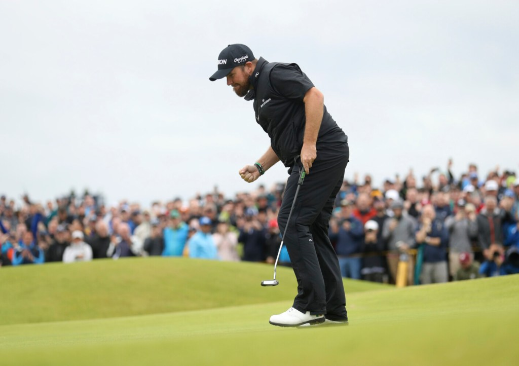 Shane Lowry celebrates after making a birdie on the 15th hole during the final round of the British Open on Sunday at Royal Portrush in Northern Ireland. Lowry ran away with the victory, winning by six shots.
