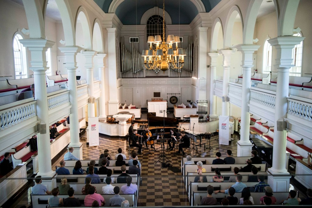 A quintet performed a new piece titled 'Parallel Lines' composed by Xiangyu Zhou as the Atlantic Music Festival kicked off its 10th season at Lorimer Chapel at Colby College in Waterville on July 7, 2018. This year's festival starts performances Friday and runs through July 28.