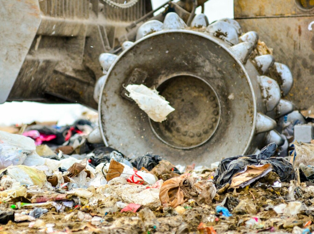 A plastic shopping bag blows in the wind on at the Hatch Hill Solid Waste Facility in Augusta on Jan. 4.